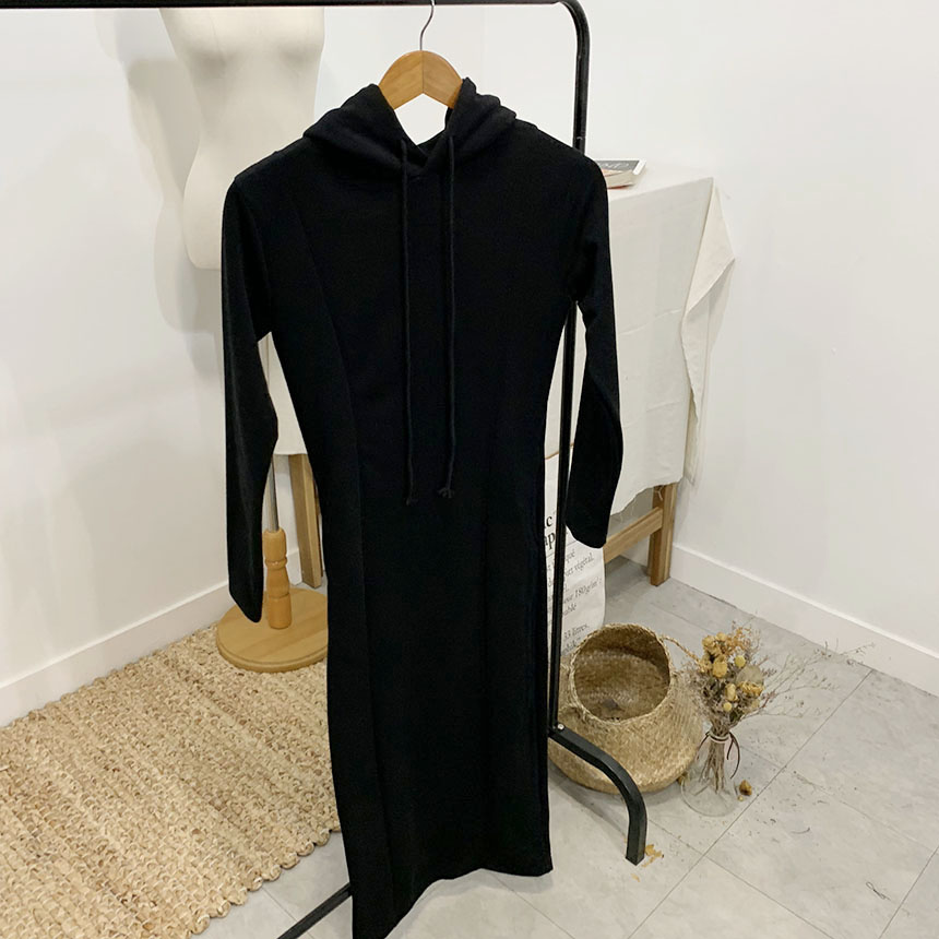 Resa plain hooded long dress 2colors