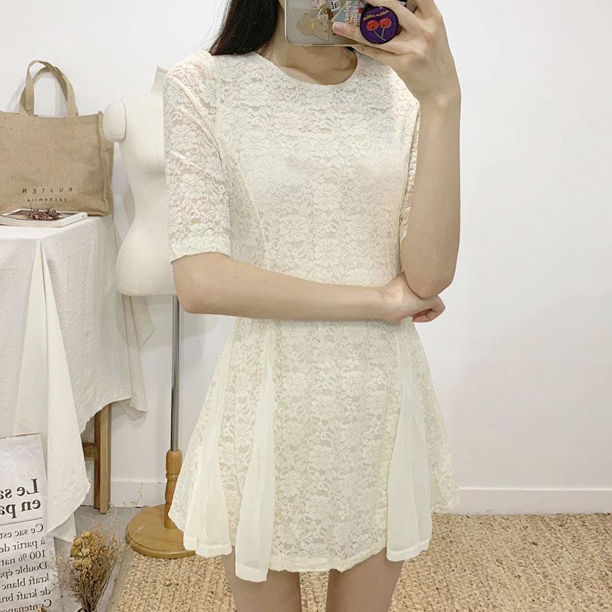 Mary's lace flare mini dress