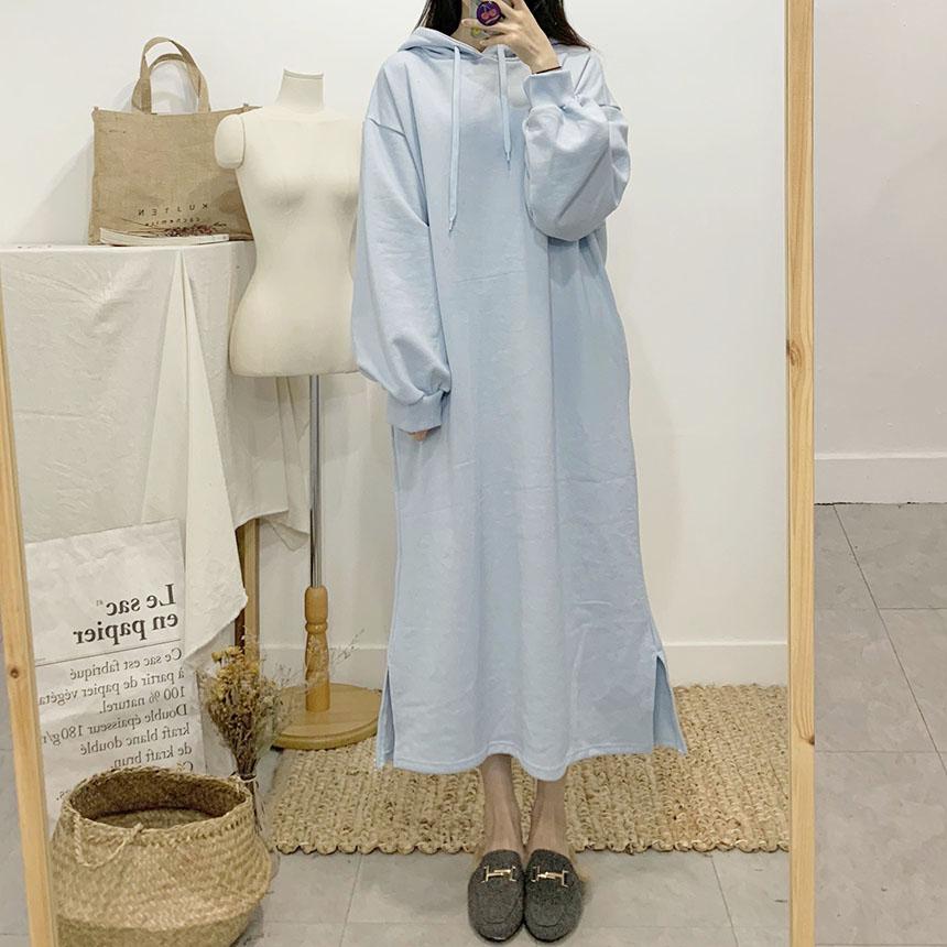 Esed plain long hooded dress