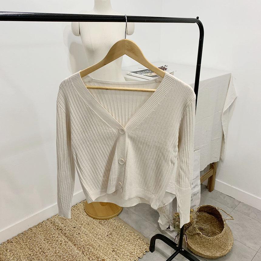 Breaded ribbed V-neck knit cardigan