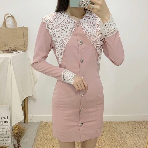 Libron lace big collar mini dress