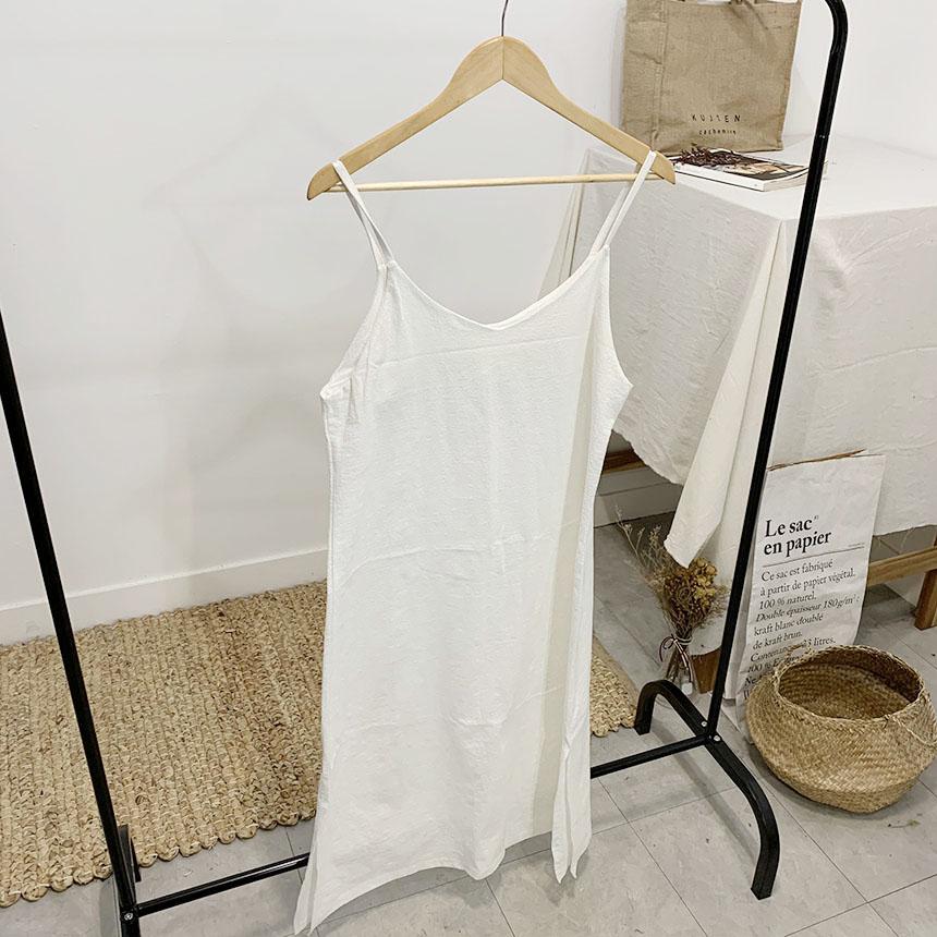 Fiole Slit Linen Long Bustier Dress