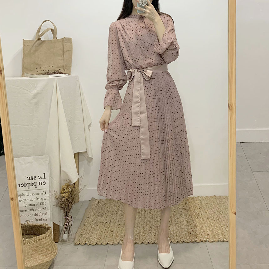 Sweet dot pleated chiffon long dress