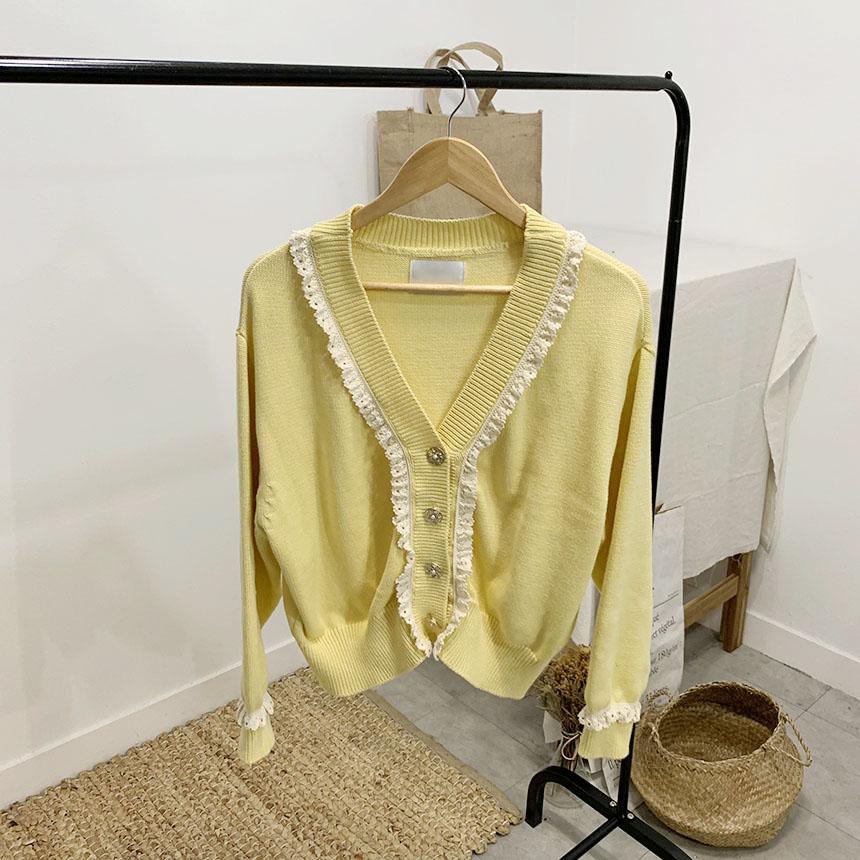 Susner Lace Ruffle V Neck Long Sleeve Cardigan