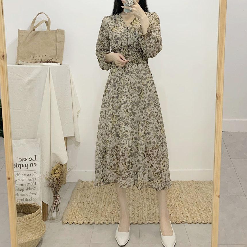 Rodelson V-neck smoke flower long dress
