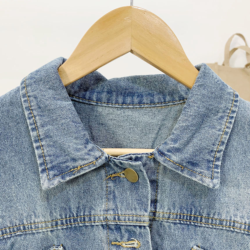 Heelbrick pocket button cropped denim jacket
