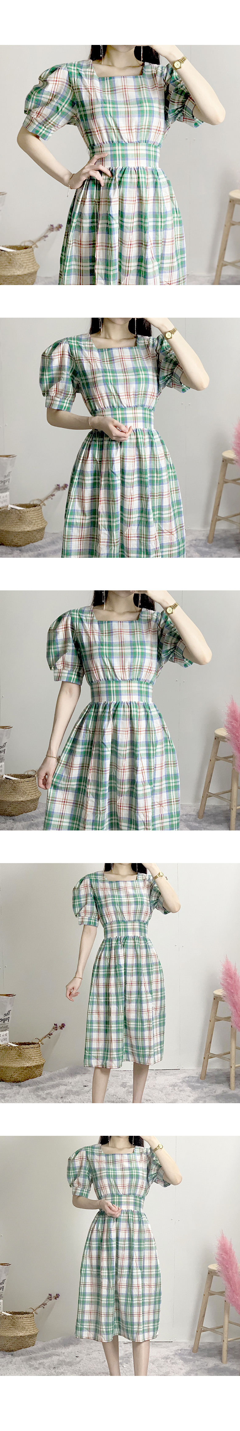 Square Neck Check Belted Long Dress
