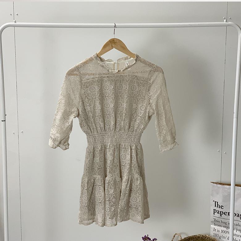 See-through smoke lace mini dress