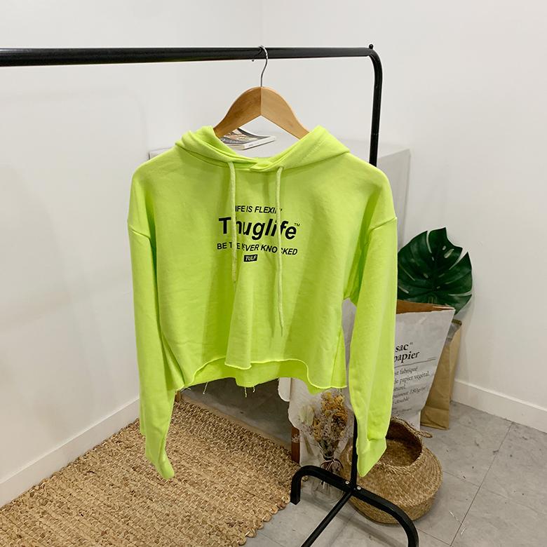 Thug lettering crop hoodie