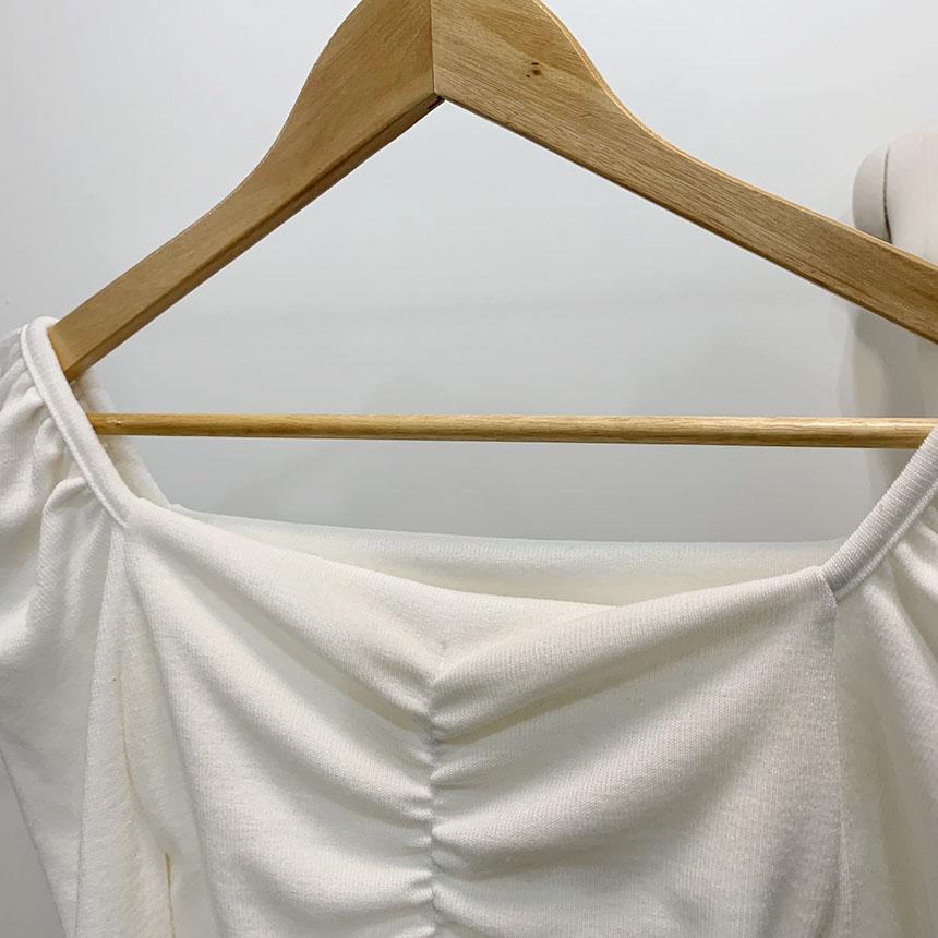 Randelli Puff Shirring Square Neck Knit
