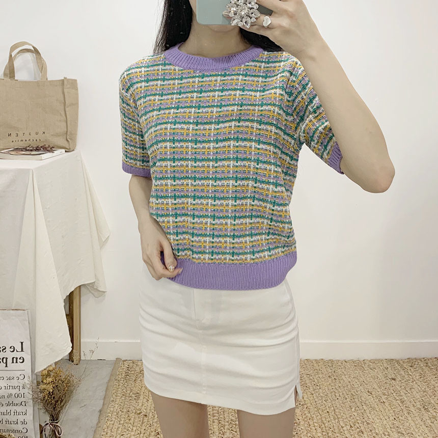 Muse color tweed round neck short sleeve knit