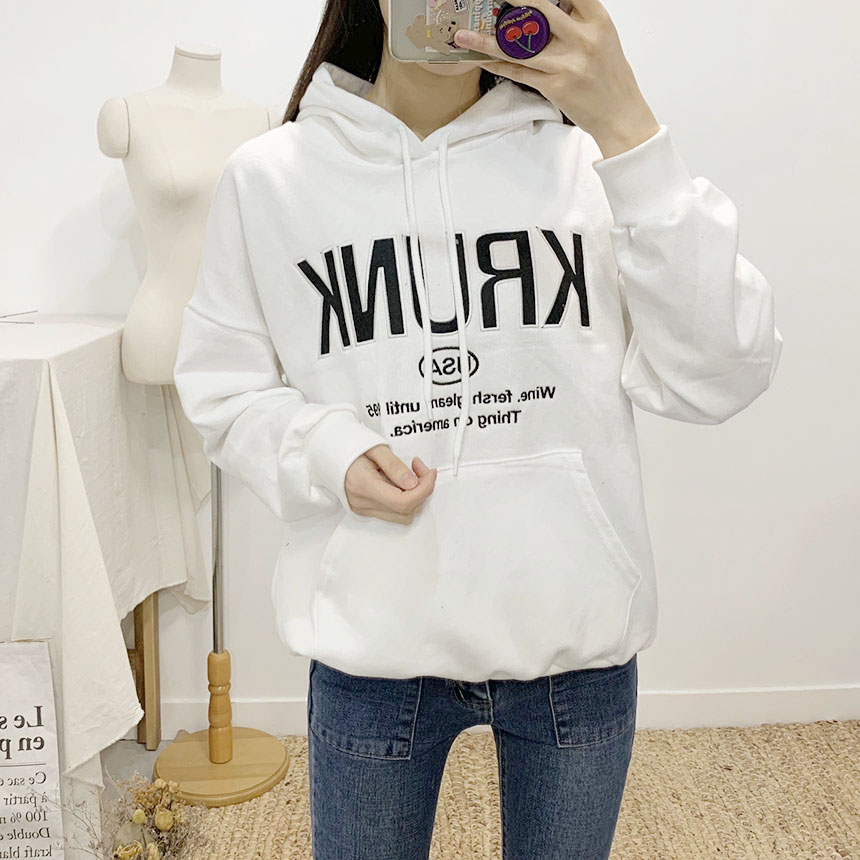 Krunk lettering hooded t-shirt