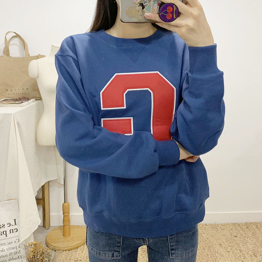 Zip patch embroidered round neck long sleeve sweat shirt