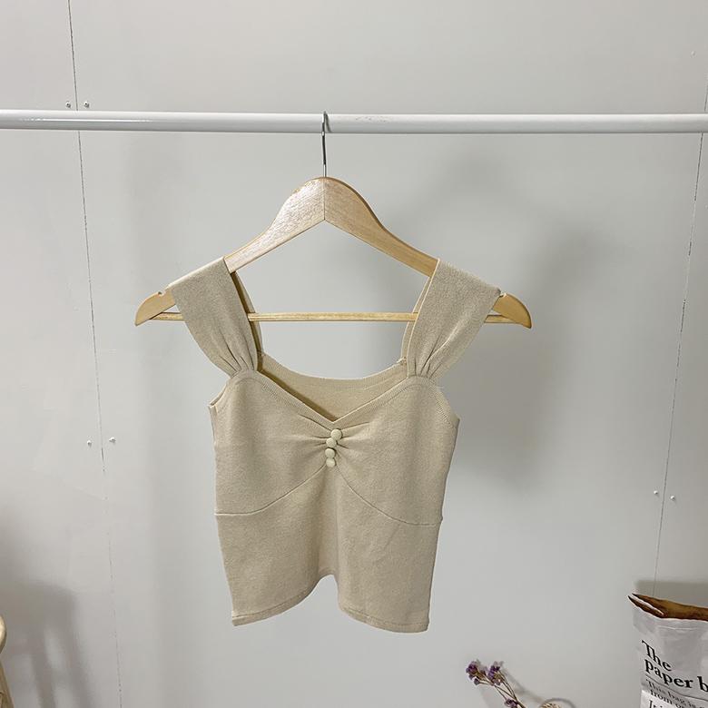 Shirring Bean Button Crop Knit Nashi