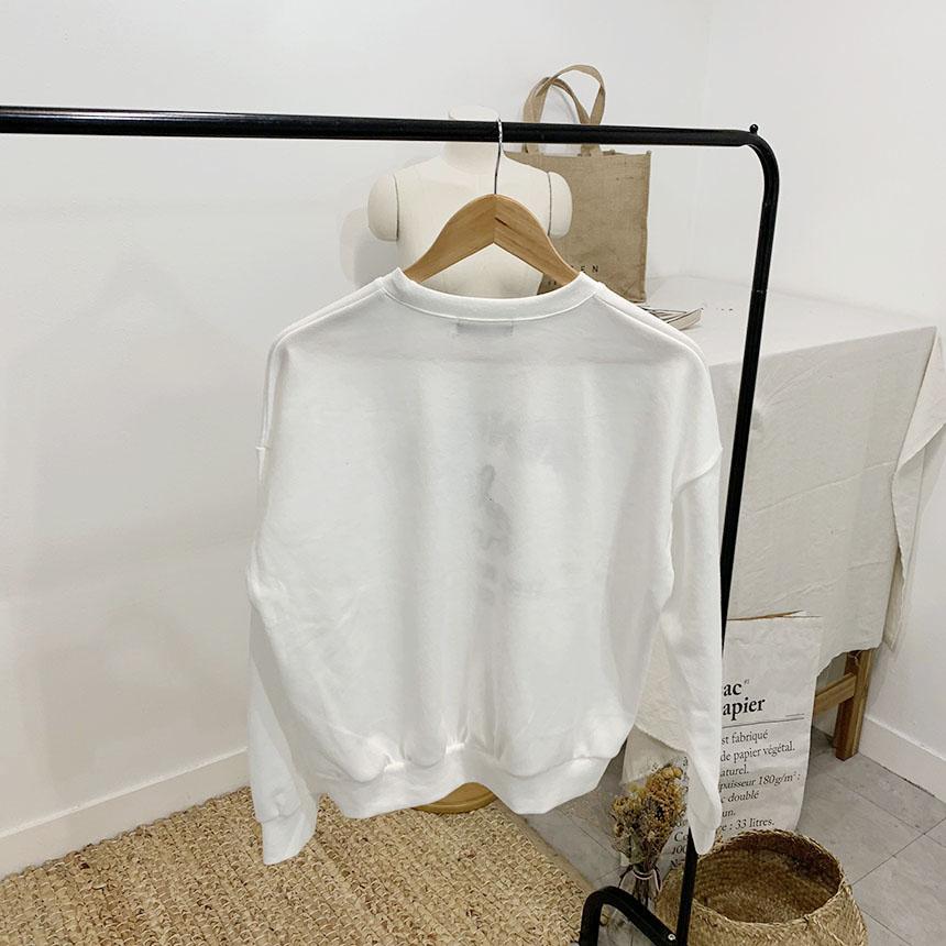 French printing round neck sweat shirt