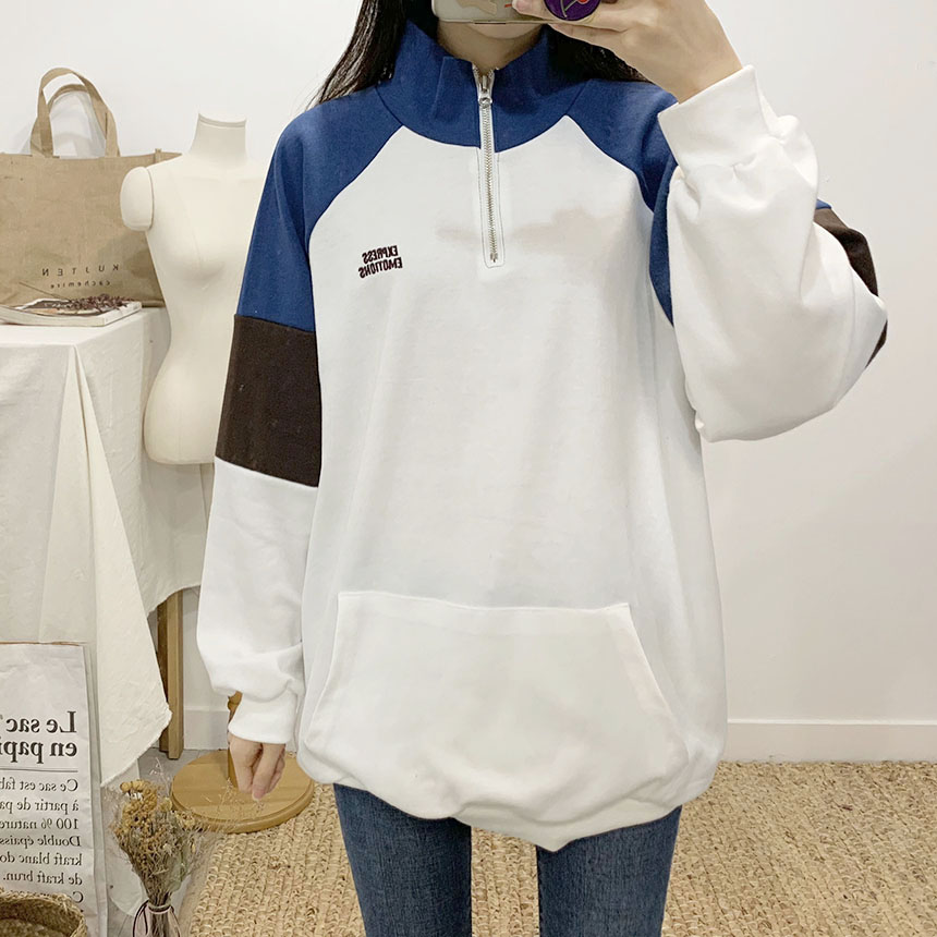 Emotion color lettering anorak sweat shirt