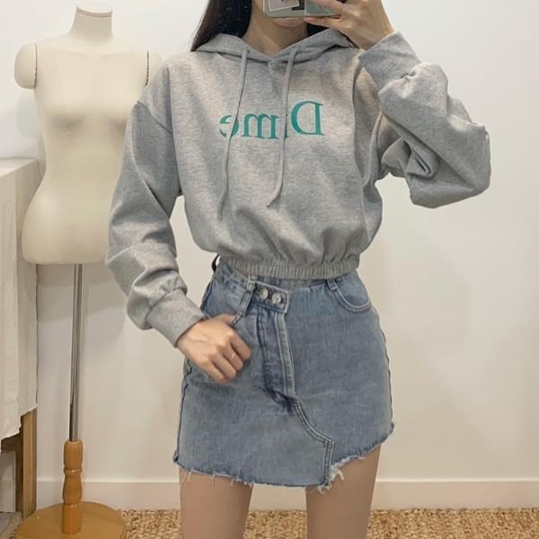 Dime lettering crop hoodie