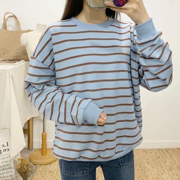 Palmless striped round neck long sleeve sweat shirt