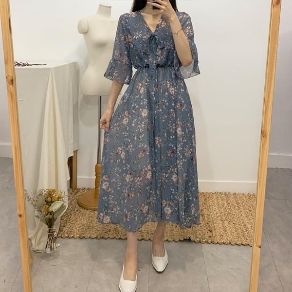 Rania V Flower Long Dress