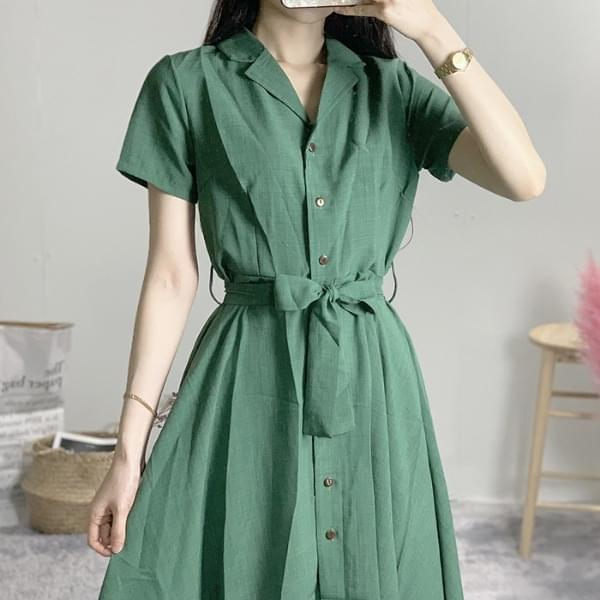 Eco Trench Collar Button Linen Long Dress