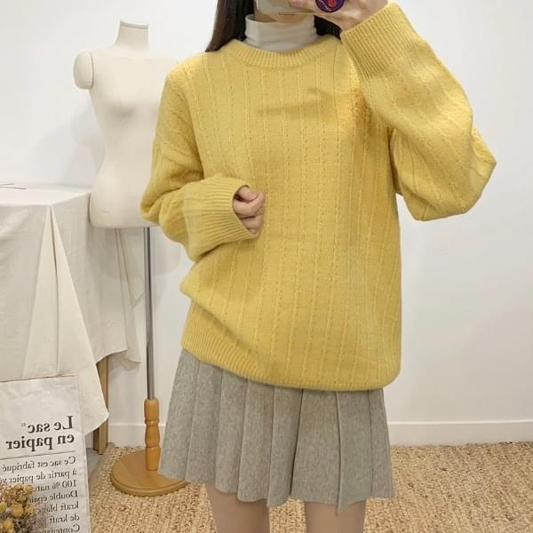 Pio Round Long Sleeve Knit 4colors