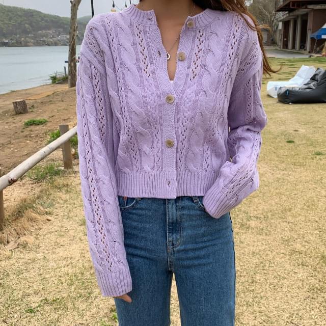 Twist pattern punching cardigan