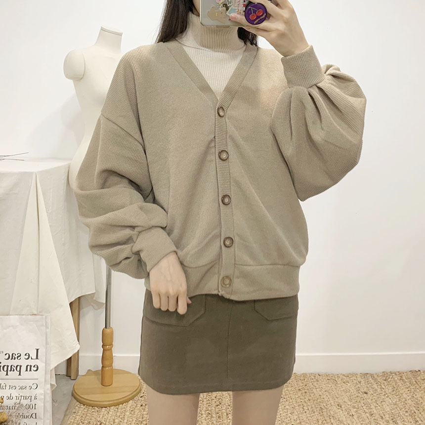 Bounce V Neck Puff Cardigan 6colors