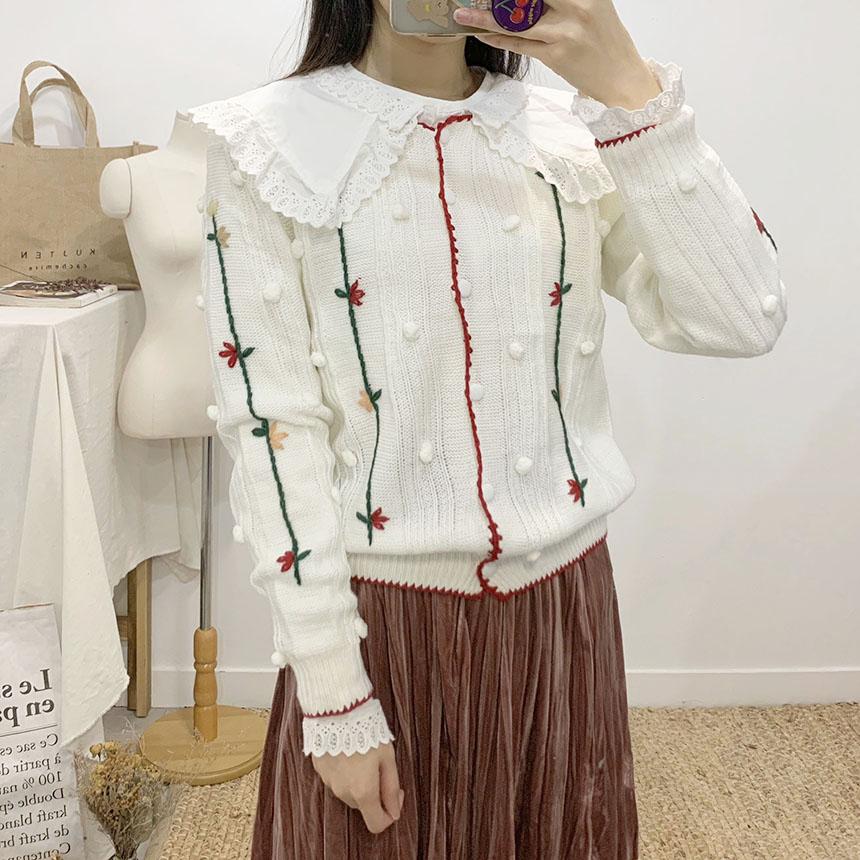 Artit Flower Color Knit Cardigan