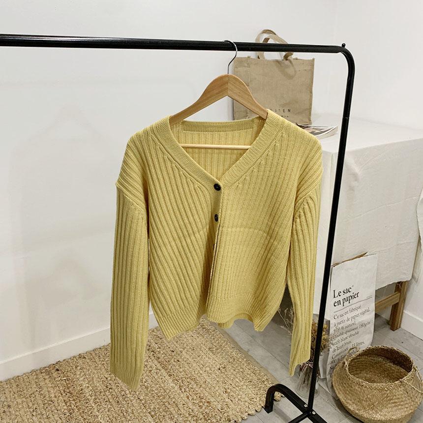 Day-du V-neck long-sleeved knit cardigan