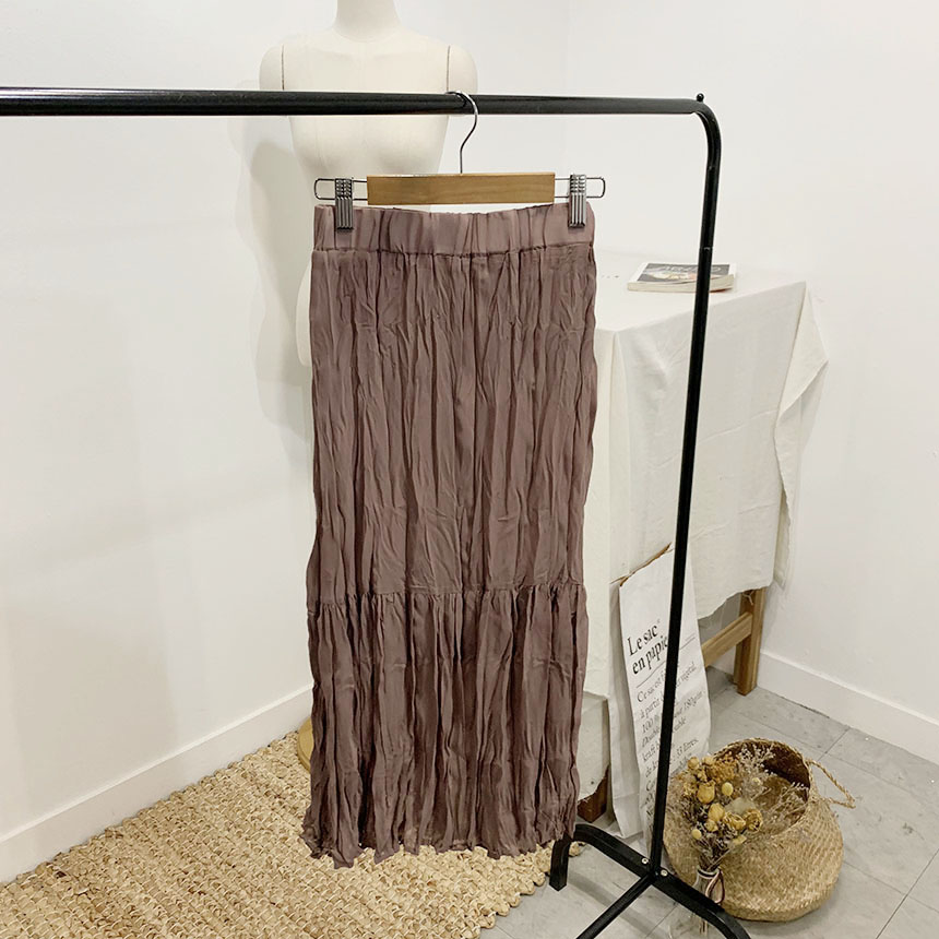 Perfume Pleated Long Skirt 6colors