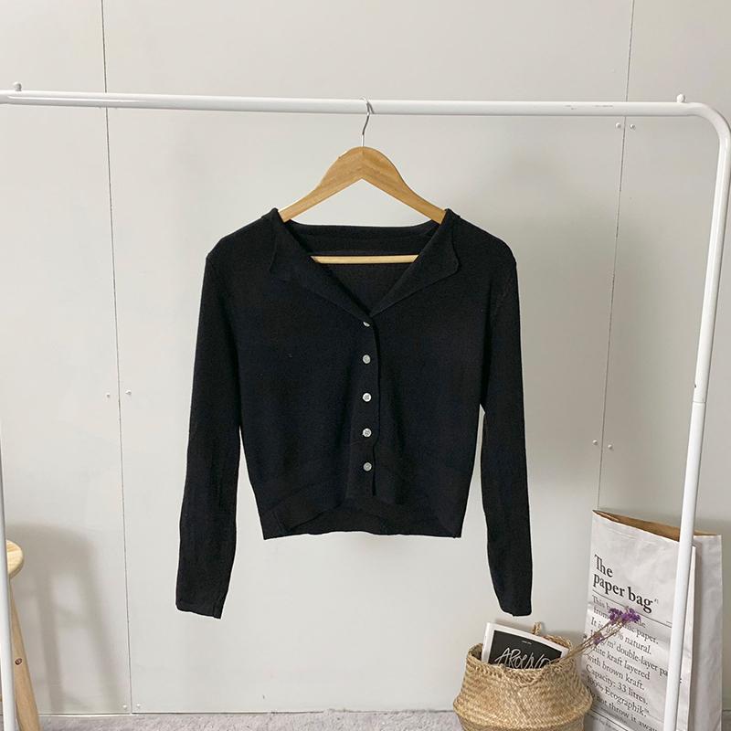 Double collar V-neck knit cardigan