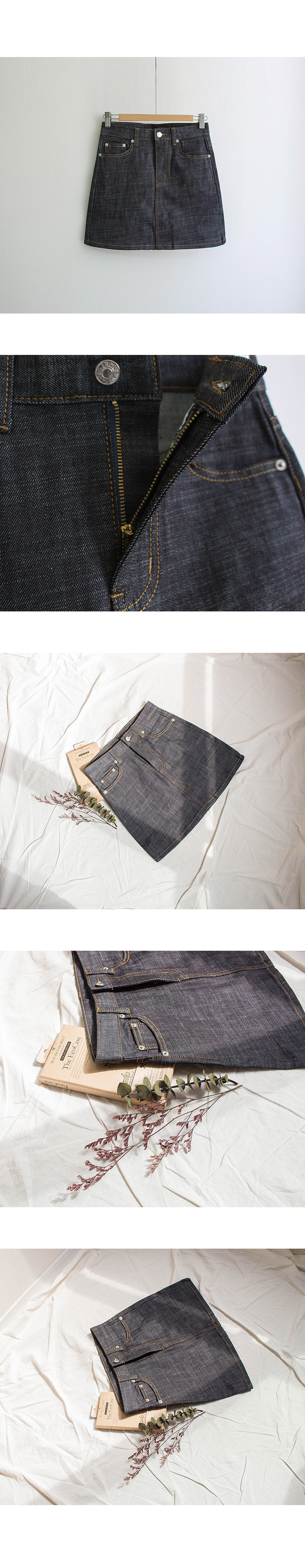 Diego stitched denim mini skirt
