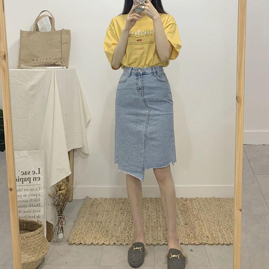Grenjin uncut denim long skirt