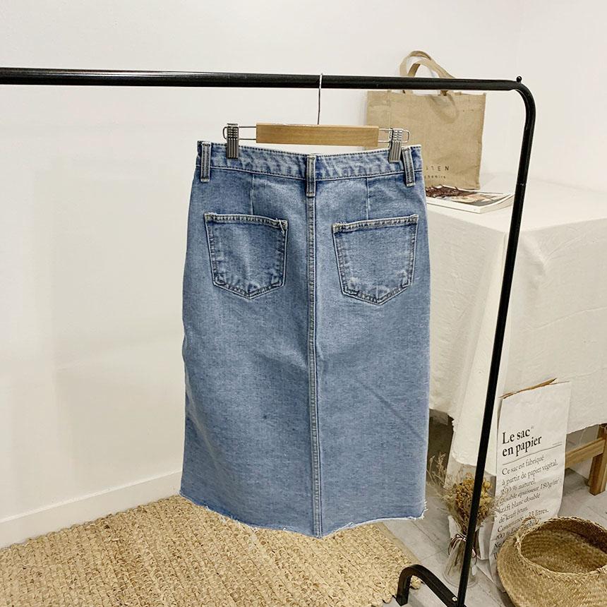 Sandia A-line button long skirt