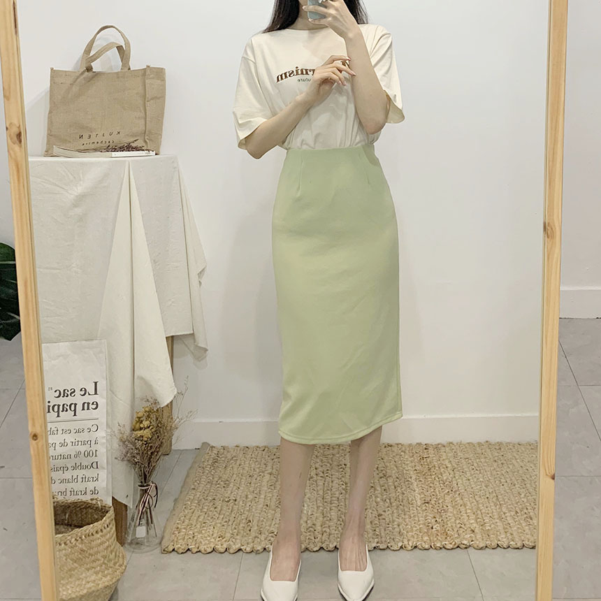 Crispy color span long skirt