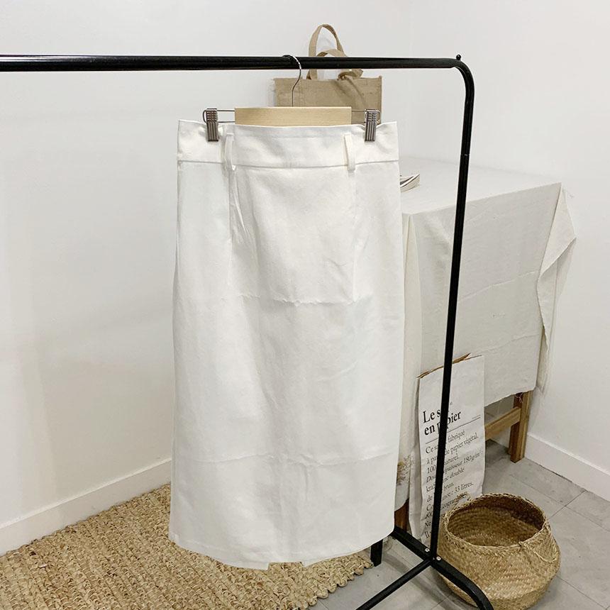 Levas button-trim long skirt