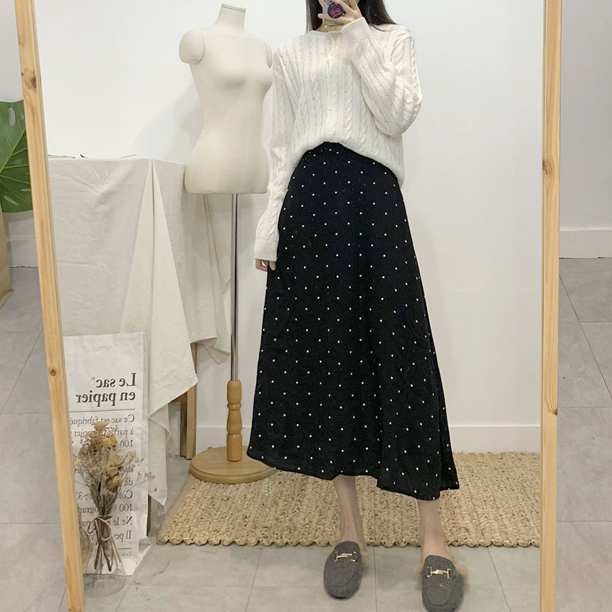 Chelsea dot flare long skirt 1colors