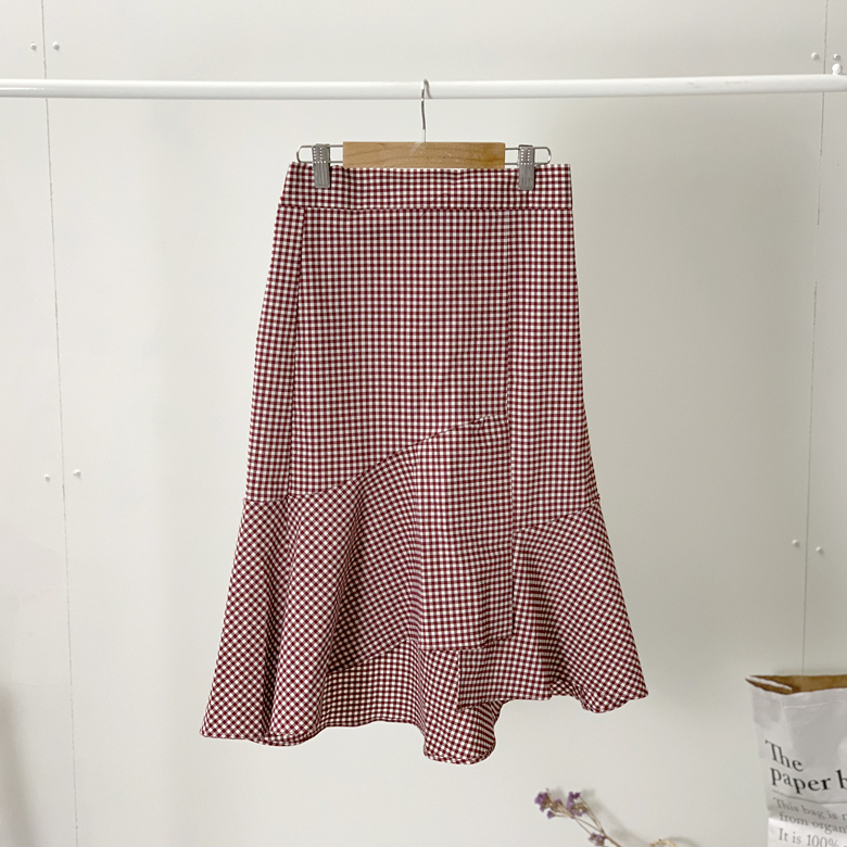 Ice Check Ruffle Long Skirt