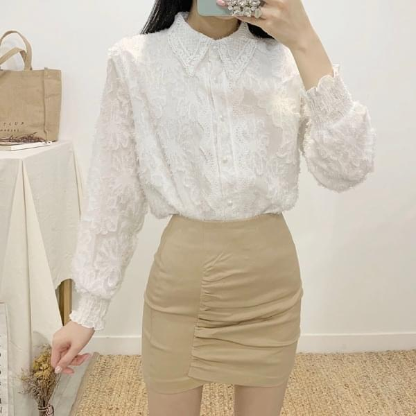 Romand shearing high-waist mini skirt