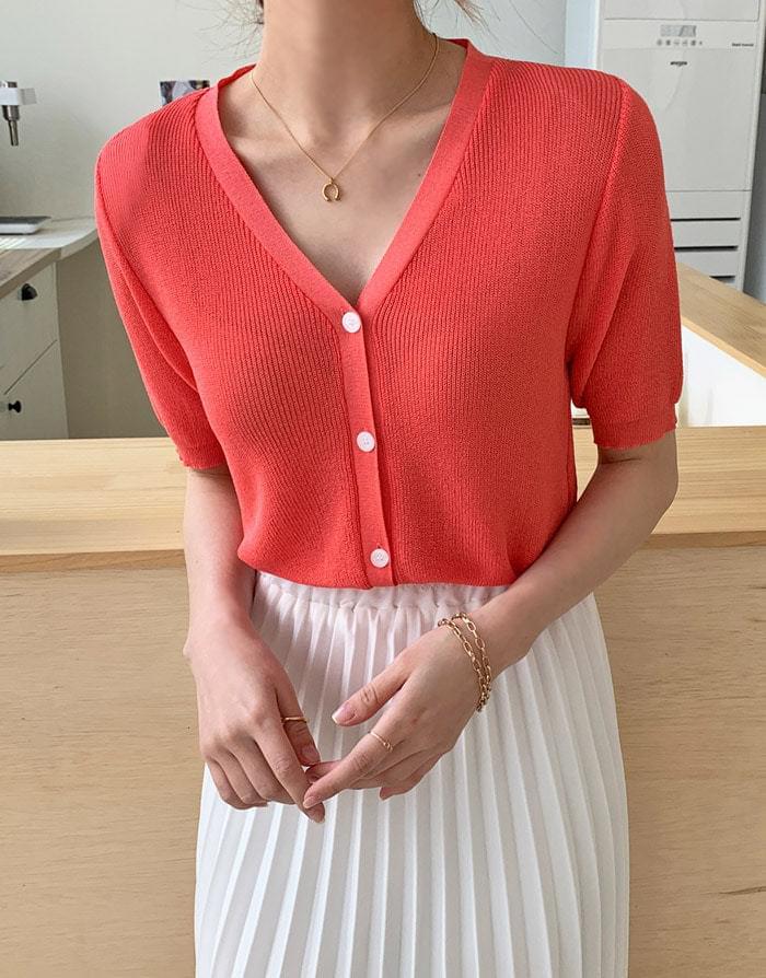 Lois linen short sleeve cardigan