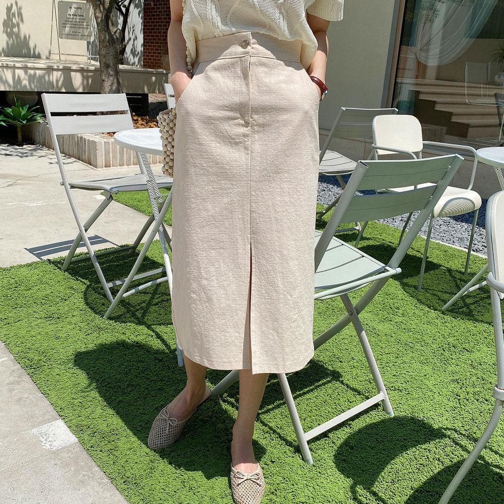 Linen front skirt