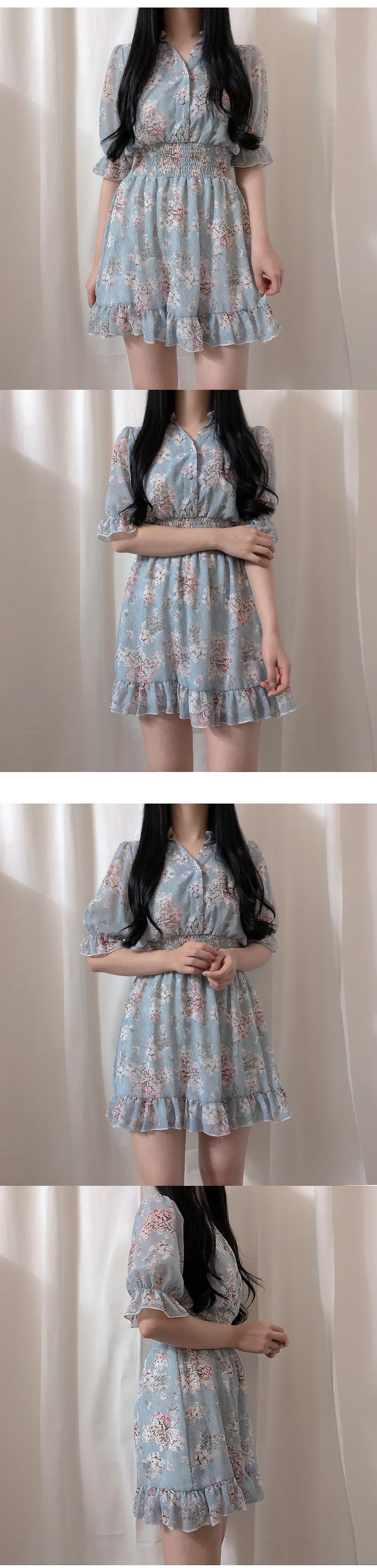 New Discount ♥ Short Sleeve Soft Smoke Flower Dress