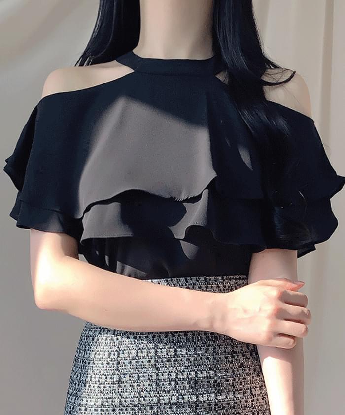 氣質仙女 掛脖荷葉邊削肩短袖上衣