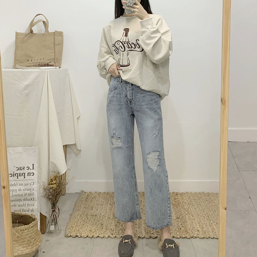 Empire Straight Fit Wide Denim Pants