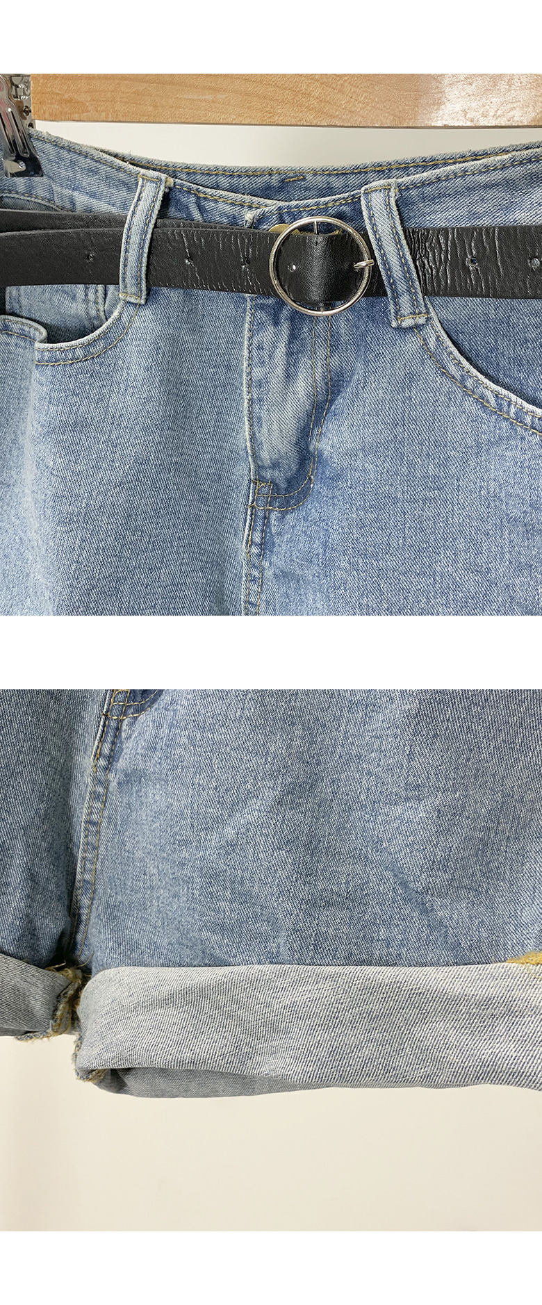 Belt set denim short pants