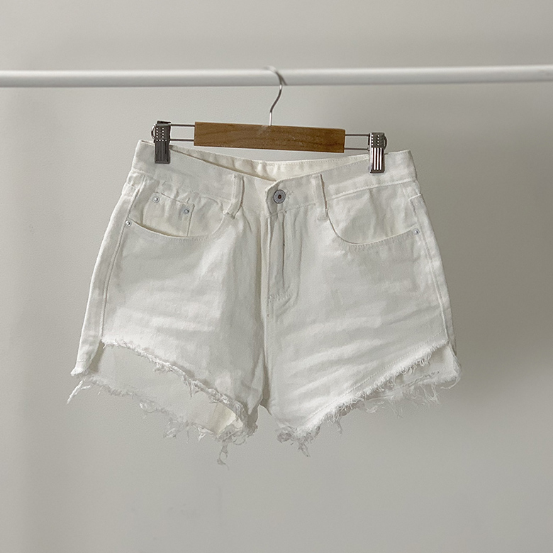 Unbalanced cut denim short pants