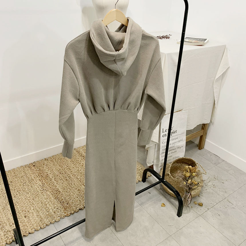 Tailed plain hooded long dress 3colors