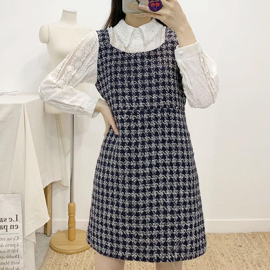 Rubber tweed bustier mini dress 3colors