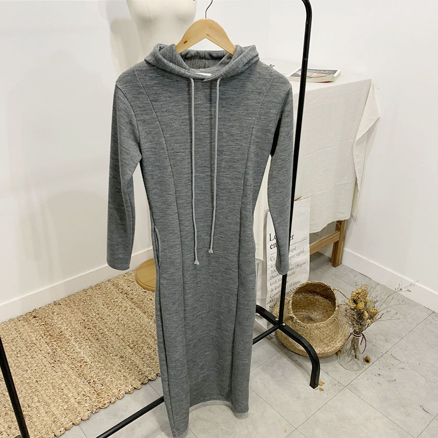 Resa plain hooded long dress 2colors