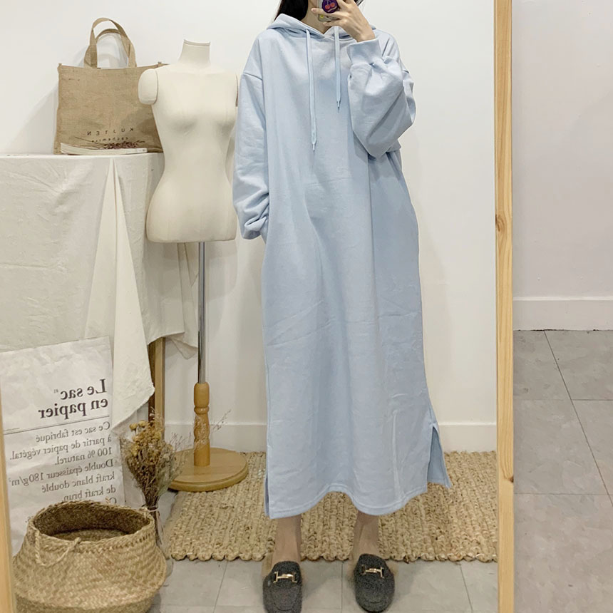 Esed plain long hooded dress